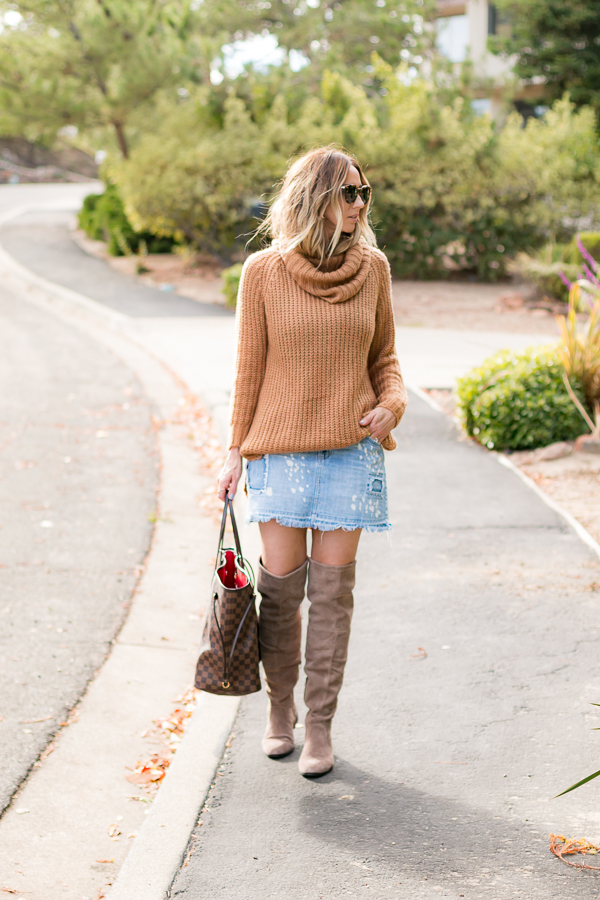 distressed jean skirt over the knee boots