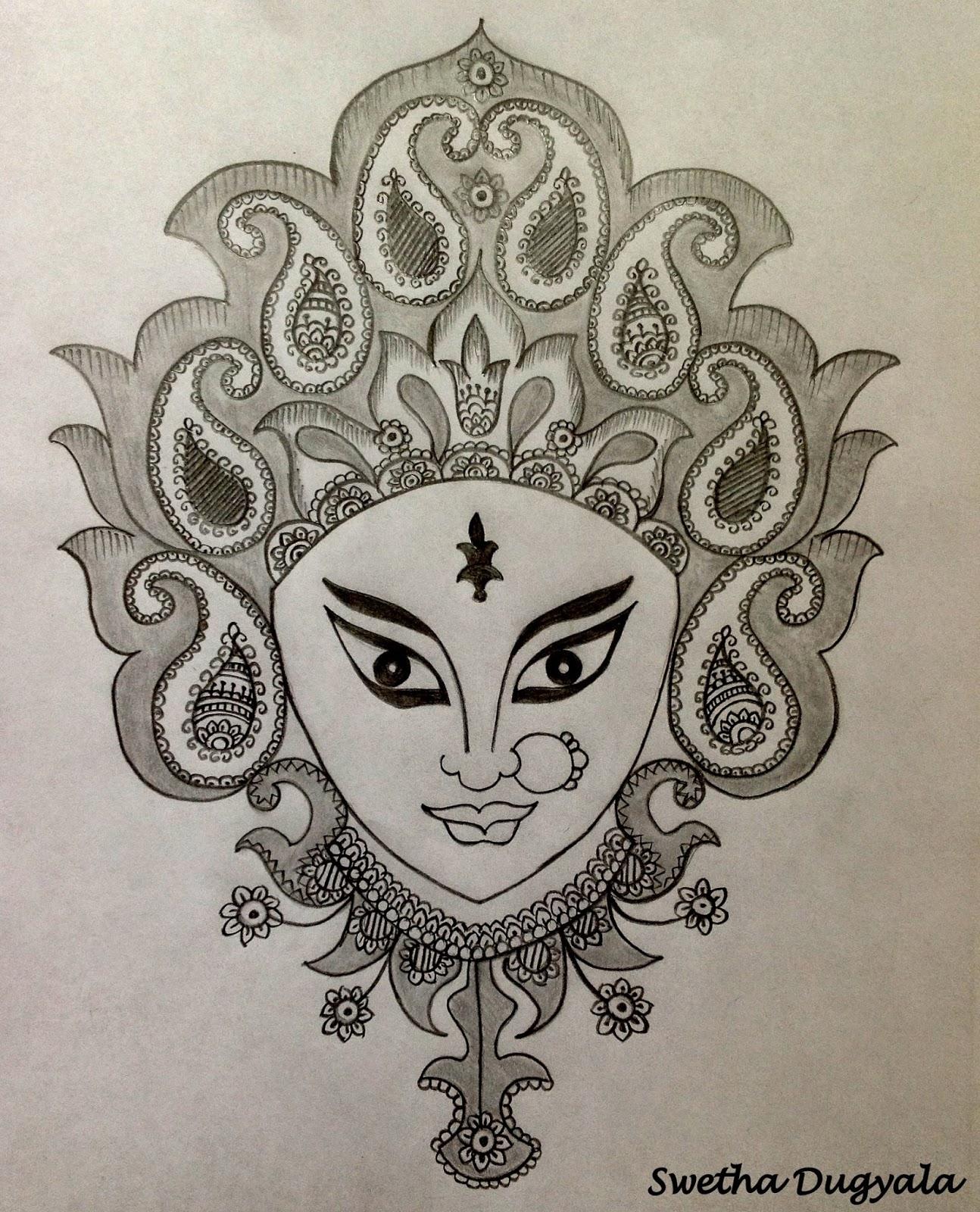 Swetha Arts : Goddess Durga Pencil Sketch