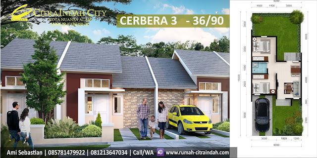 Model Rumah dan Denah Ruang Tipe Cerbera 3 - 36/90 Citra Indah City
