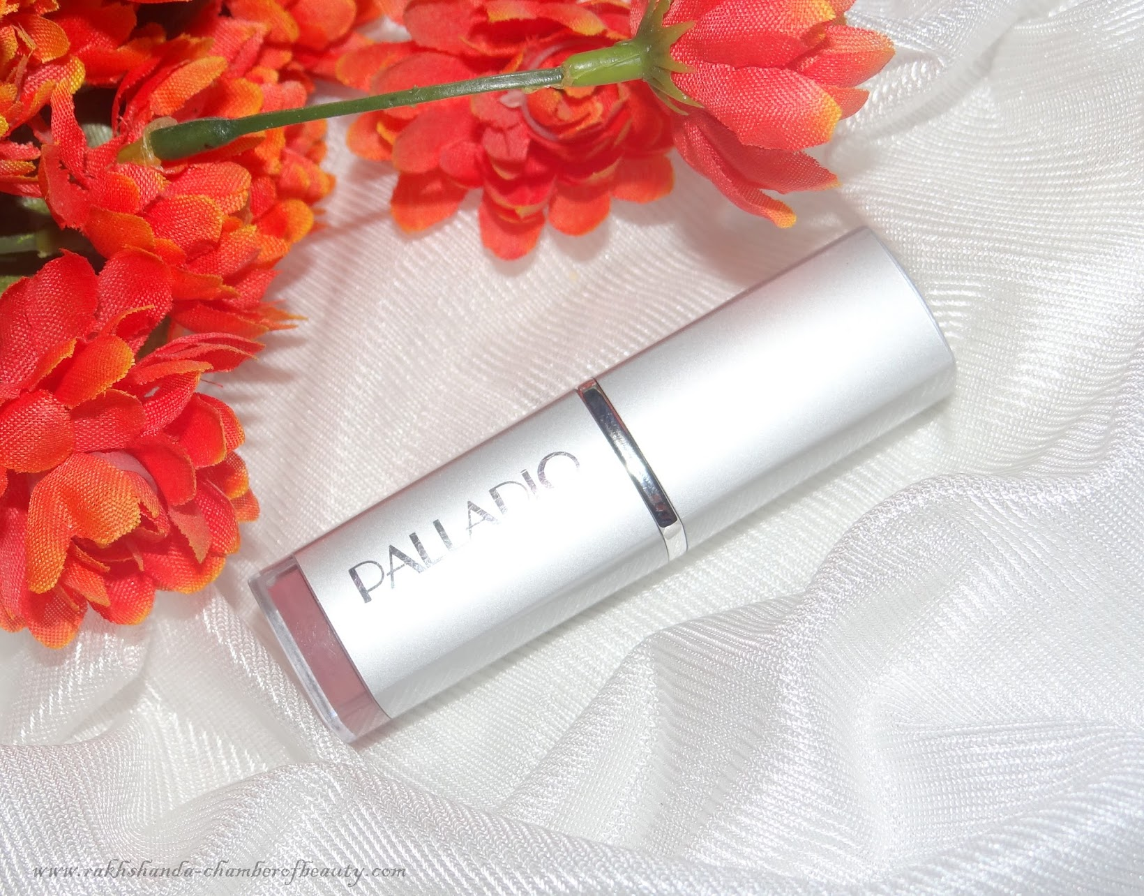 Palladio Meadow Sweet lipstick-review, swatches, Palladio Lipstick, creamy, herbal, Palladio Herbal Lipstick review, Indian beauty blogger, muted soft rose pink, muddy pink, chamber of beauty, Indian makeup blog, lipstick, nude pink lipstick review, nude lips, Palladio Meadow Sweet lipstick