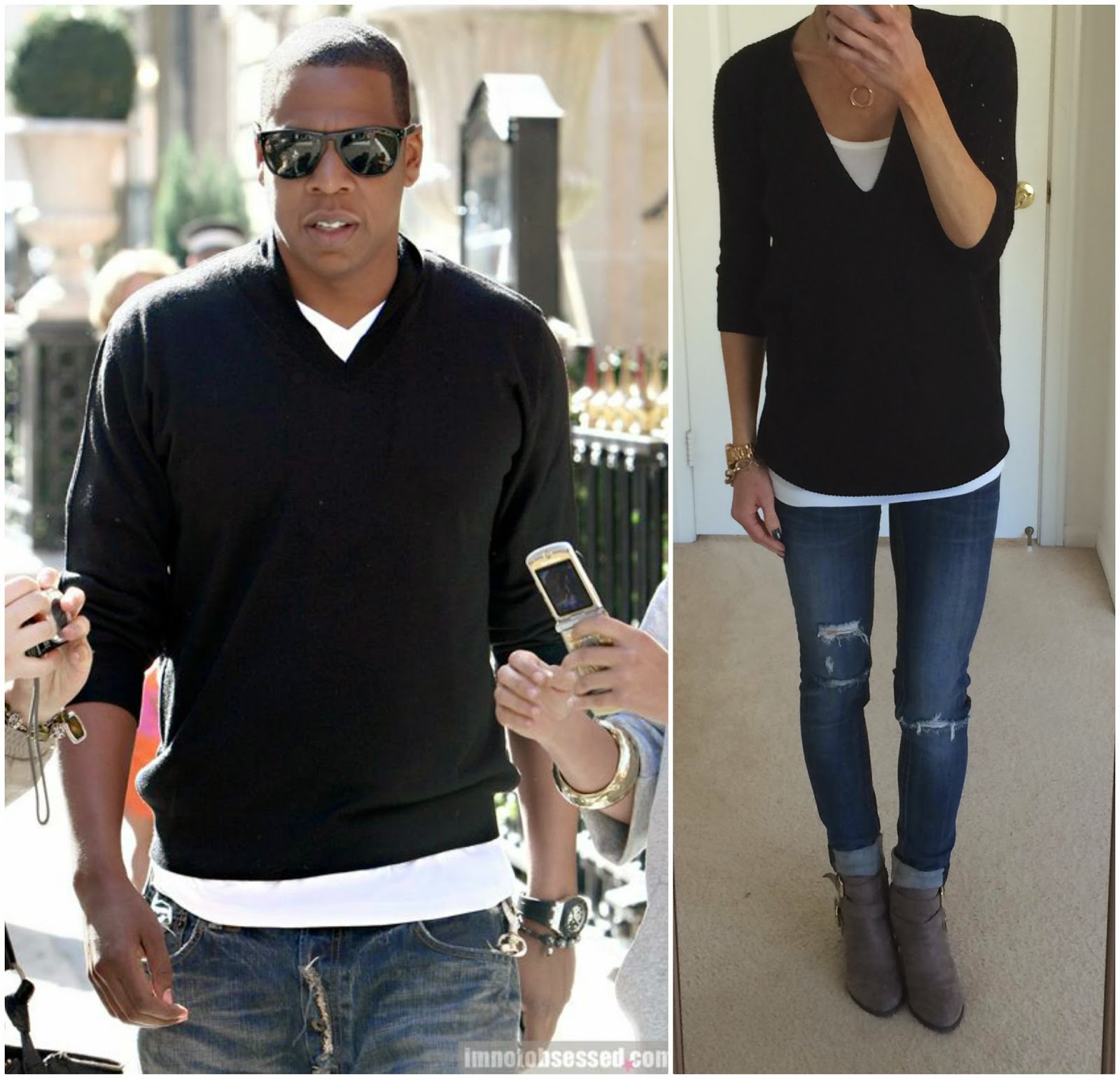 Jay Z Street Style, Black Sweater with white contrast