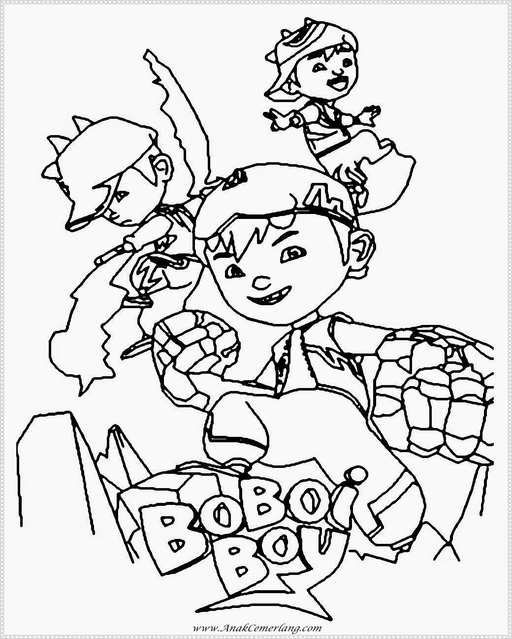 gambar hitam putih sketsa boboiboy