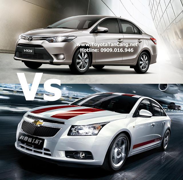 So sánh Toyota Vios 2015 và Chevrolet Cruze 2015