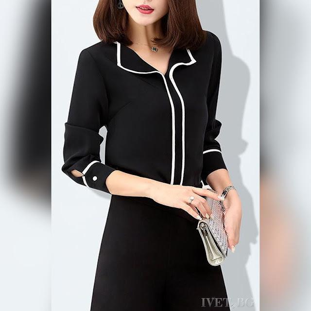 Γυναικείο μαύρο πουκάμισο MARVILO BLACK