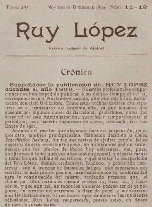 Nota final en ela revista de ajedrez Ruy López de Juan Capó González