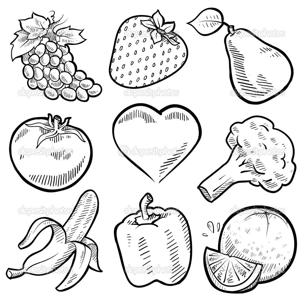 Meyve, Sebze Kolay Çizim ve Boyama Renksiz Resimler