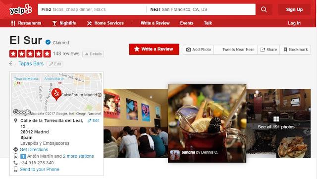 he aquí una captura de pantalla de la búsqueda de Yelp:
