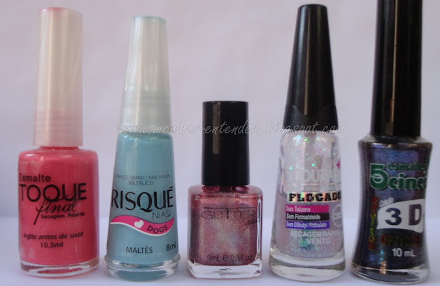 Esmaltes Toque Final, Risque, Glitter Gal, Ludurana e 5Cinco