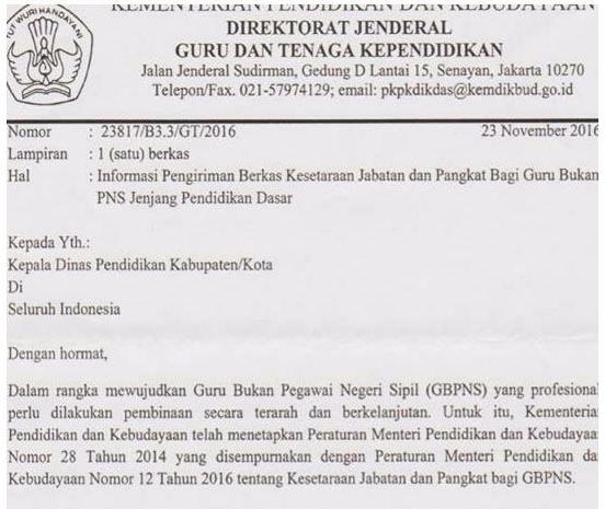 Download Surat Edaran Dirjen GTK Mengenai Informasi Pengiriman Berkas Kesetaraan Jabatan Serta Pangkat Guru Non PNS Tahun 2017
