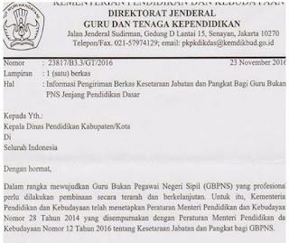 Surat Edaran Dirjen GTK Mengenai Informasi Pengiriman Berkas Kesetaraan Jabatan Serta Pangkat Guru Non PNS Tahun 2017
