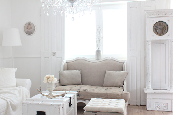 Oh My Goodness! This liviing room is amazing! I love the chandelier crystals and that couch is amazing! This Is A Stunning Version of Neutral Shabby Chic Style