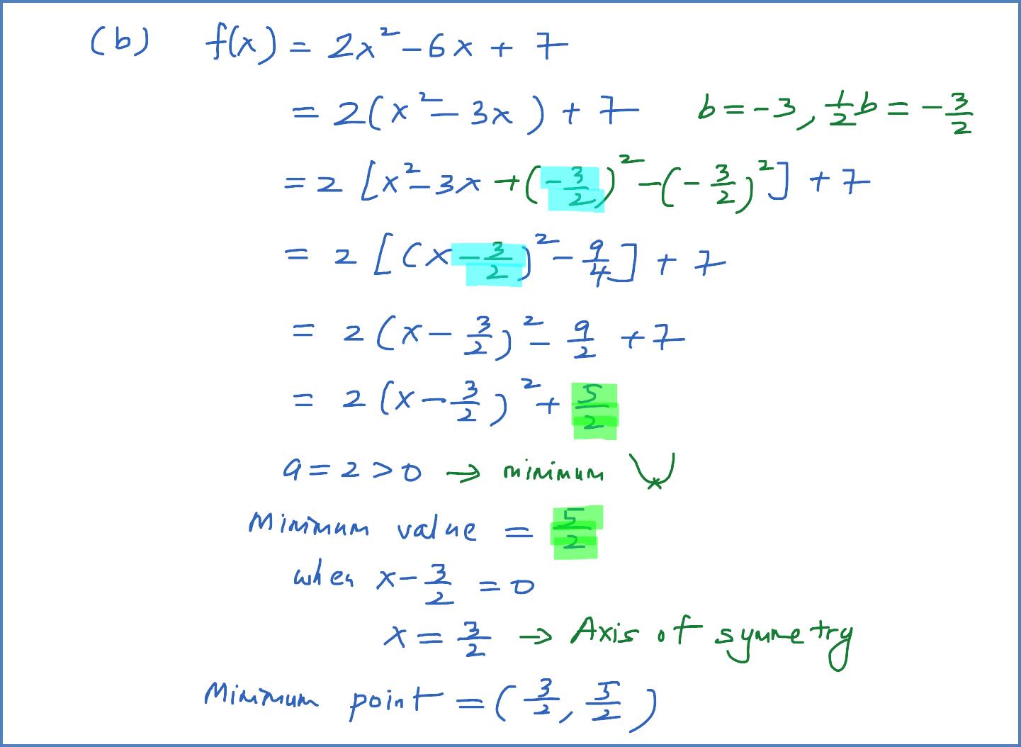 Formula To Find Minimum Value Of Quadratic Equation