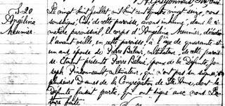 1896 burial record of Angélina Meunier