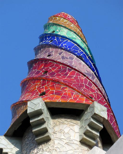 Detail of a chimney, Palau Güell by Antoni Gaudí, Carrer Nou de la Rambla, El Raval, Barcelona