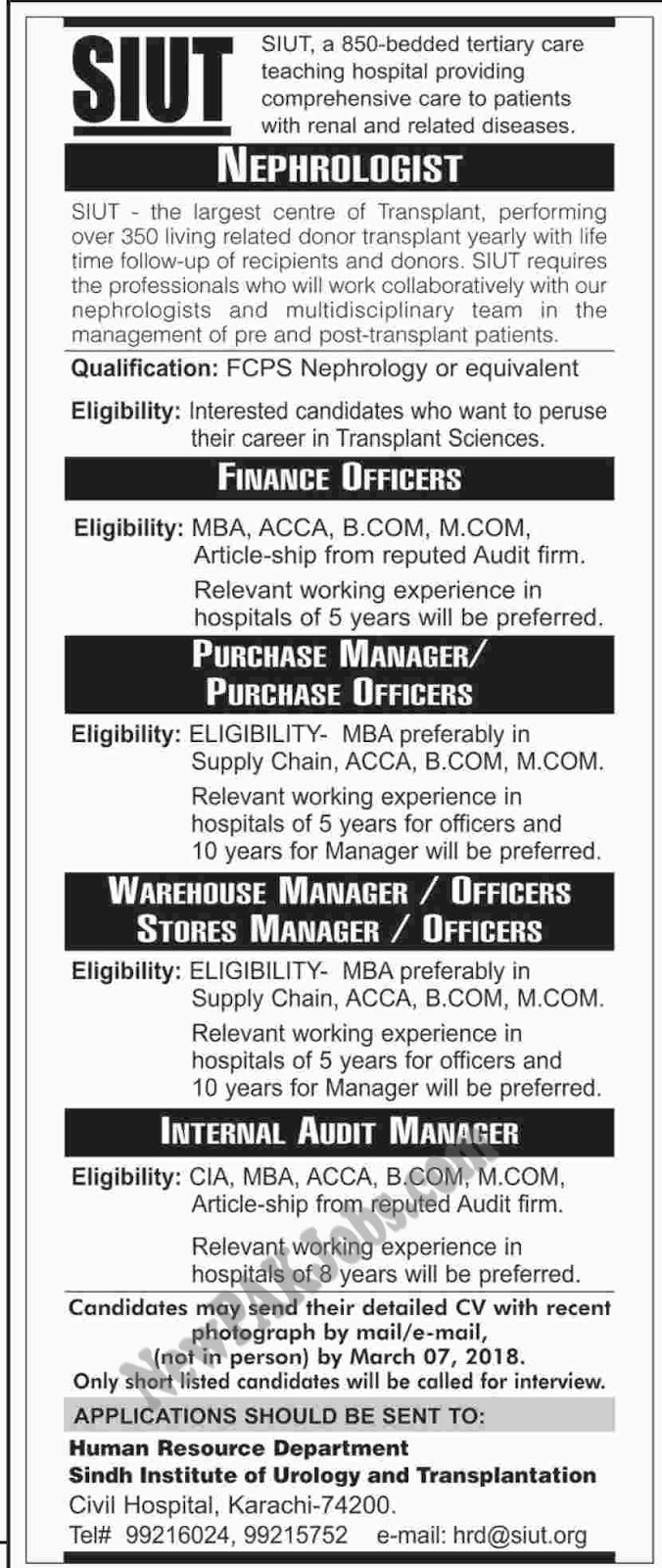 Sindh Institute of Urology and Transplantation Latest New Jobs