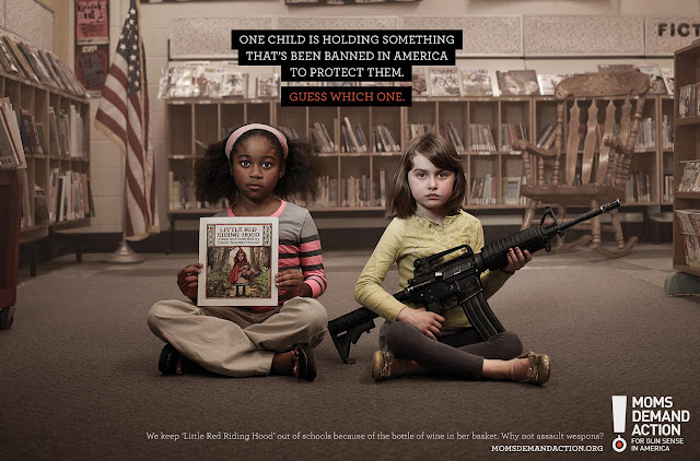 Moms demand action School safety ads. What is allowed and what is prohibited. Little Red Riding Hood has a bottle of  wine in her basket