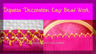 how to decorate your dupatta with bead work using eyelet stitch