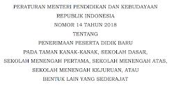 Permendikbud Penerimaan Peserta Didik Baru 2018/2019