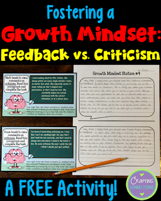 Help students understand the difference between criticism and feedback with this FREE growth mindset activity.