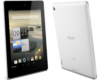 Acer Iconia Tab A1-811 Specifications - LAUNCH Announced 2013 DISPLAY Type TFT capacitive touchscreen, 16M colors Size 7.9 inches (~63.6% screen-to-body ratio) Resolution 768 x 1024 pixels (~162 ppi pixel density) Multitouch Yes BODY Dimensions 208.7 x 145.7 x 11.1 mm (8.22 x 5.74 x 0.44 in) Weight 430 g (15.17 oz) SIM Yes PLATFORM OS Android OS, v4.2 (Jelly Bean) CPU Quad-core 1.2 GHz Cortex-A7 Chipset Mediatek MT8389W GPU PowerVR SGX544 MEMORY Card slot microSD, up to 32 GB (dedicated slot) Internal 8 GB, 1 GB RAM CAMERA Primary 5 MP, autofocus Secondary VGA Features Geo-tagging Video Yes NETWORK Technology GSM / HSPA 2G bands GSM 850 / 900 / 1800 / 1900 3G bands HSDPA Speed HSPA GPRS Yes EDGE Yes COMMS WLAN Wi-Fi 802.11 b/g/n, hotspot GPS Yes, with A-GPS USB microUSB v2.0 Radio No Bluetooth v4.0, A2DP FEATURES Sensors Accelerometer, gyro Messaging SMS(threaded view), MMS, Email, Push Email, IM Browser HTML5 Java No SOUND Alert types Vibration; MP3, WAV ringtones Loudspeaker Yes 3.5mm jack Yes BATTERY  Non-removable Li-Ion 4960 mAh battery (18.6 Wh) Stand-by  Talk time Up to 7 h (multimedia) Music play  MISC Colors White  - HDMI port - MP3/WAV/WMA/eAAC+ player - XviD/MP4/H.264 player - Document viewer - Photo viewer/editor
