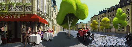 Old coffee shop illustration / ilustración de cafecito antiguo © Luis María Benítez