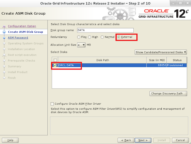 Oracle 12c grid infrastructure installation wizard screen 3