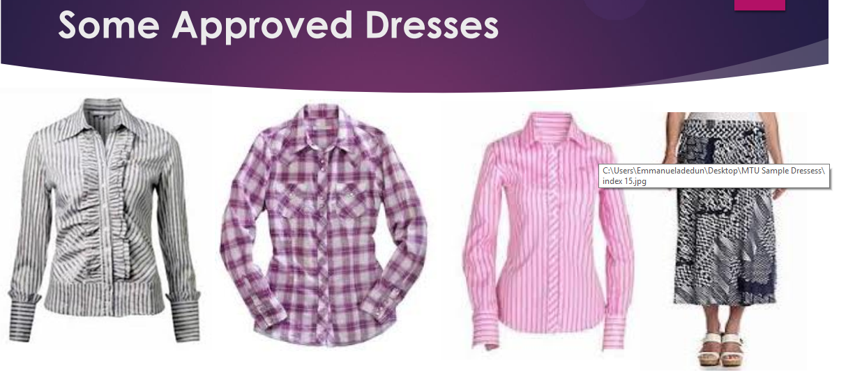 Mountain Top University Dress Codes for Female Students