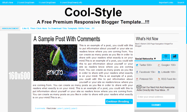 CoolStyle: A Free Premium Responsive Blogger Template