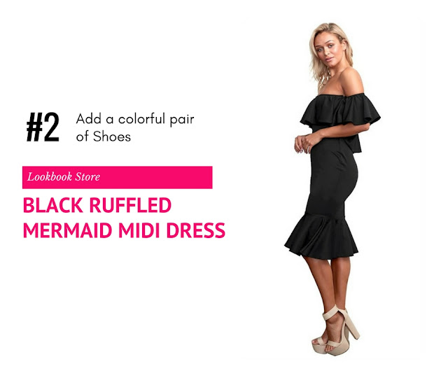 Black Ruffled Off-Shoulder Mermaid Midi Dress by Lookbook Store
