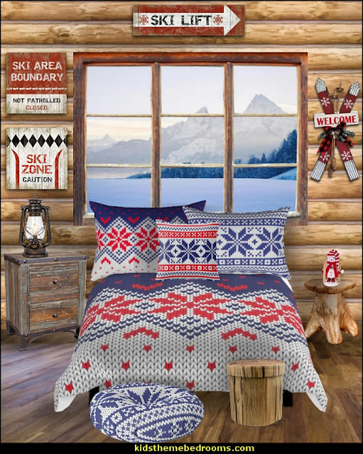 ski bedroom decorating ski log cabin bedroom   Ski cabin decorating - ski lodge decor - winter cabin decorating ski resort bedroom ideas - winter wall murals - ski chalet theme bedroom decorating ideas - modern rustic style winter cabin decor - Swiss alps decoration Alpine theme decorating - adventure bedroom design ideas - ski alps wall decal stickers - Swiss chalet mountain ski lodge murals weather themed bedroom decorating
