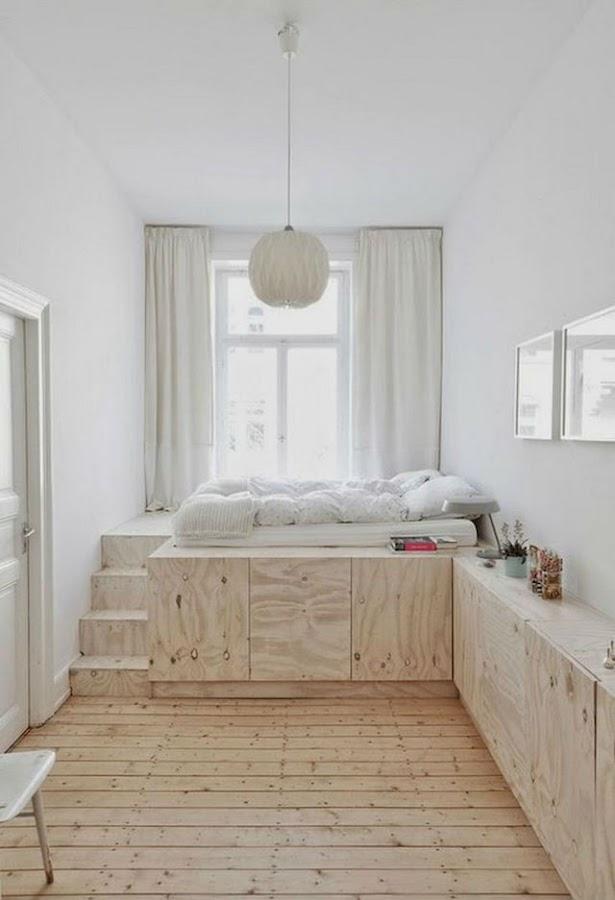cama elevada sobre estructura de madera de OSB