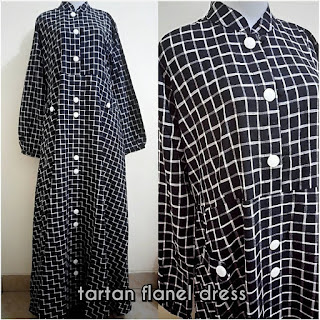 Tartan Flanel Dress White