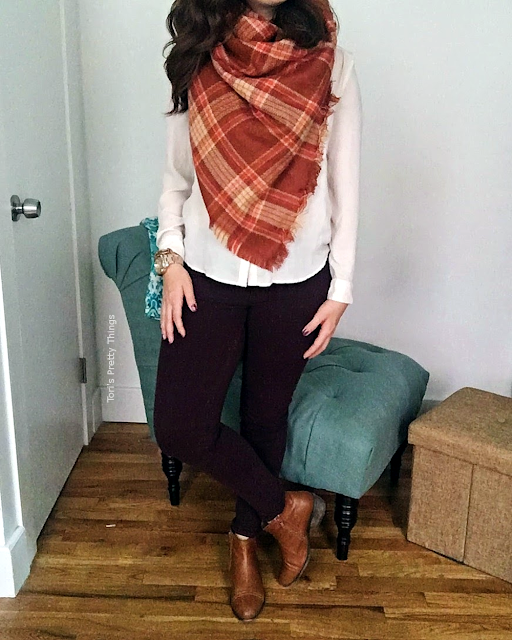 Tori's Pretty Things // Orange Blanket Scarf, Perfect Fall Outfit
