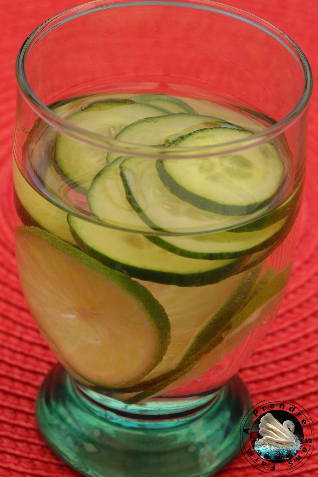 Eau détox concombre citron vert