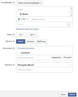 Público interessado na fanpage do Facebook