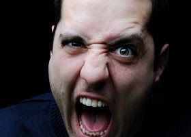 A picture of a screaming man.