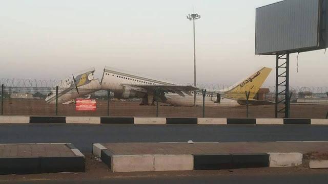 سقوط طائره سودانية بمطار الخرطوم والسبب