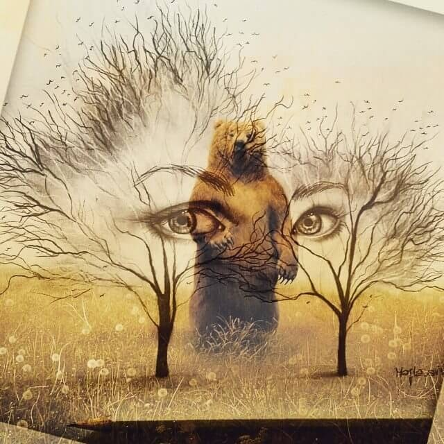10-Double-exposure-Eyes-and-Bear-Majla-Colorful-Precise-and-Realistic-Animal-Drawings-www-designstack-co