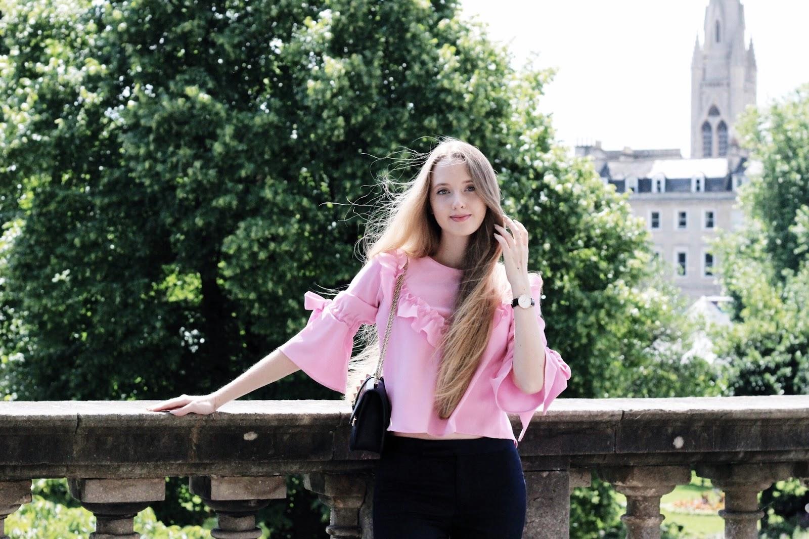 Zara Pink Frill Ruffle Blouse Summer 2017