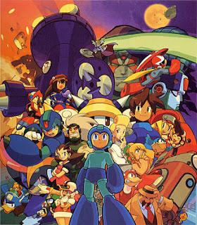 Imagen con la serie de videojuegos de Capcom: Mega Man, con muchos personajes de la saga : Fuente Wikipedia