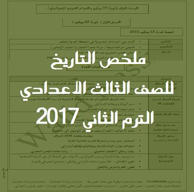 ملخص التاريخ للصف الثالث الاعدادي الترم الثاني 2017