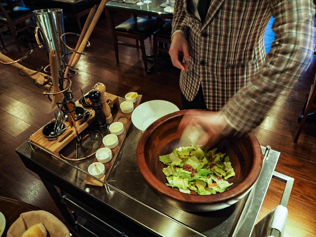 Caesar salad at The 1515 West Chophouse and Bar in the Shangri-La hotel, Shanghai