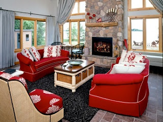 Sala con sillones rojos