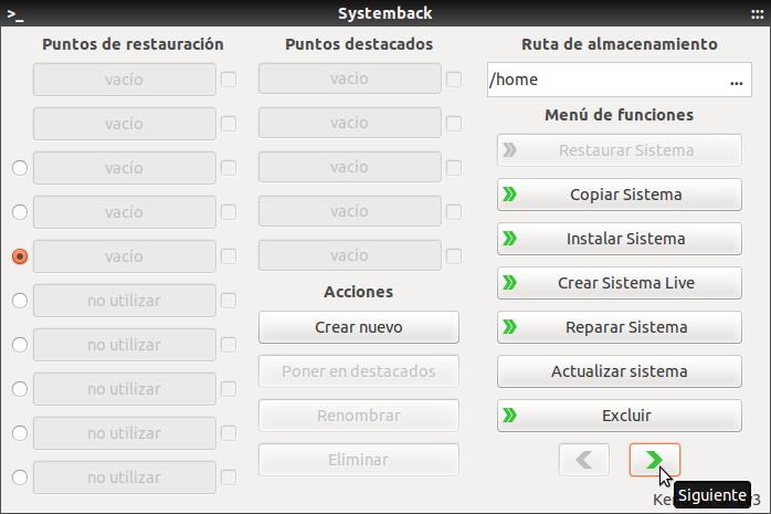 Systemback inicio