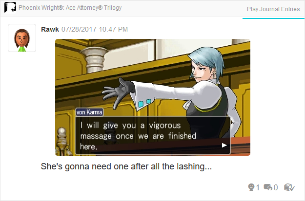 Phoenix Wright Ace Attorney Trials and Tribulations Franziska von Karma vigorous massage