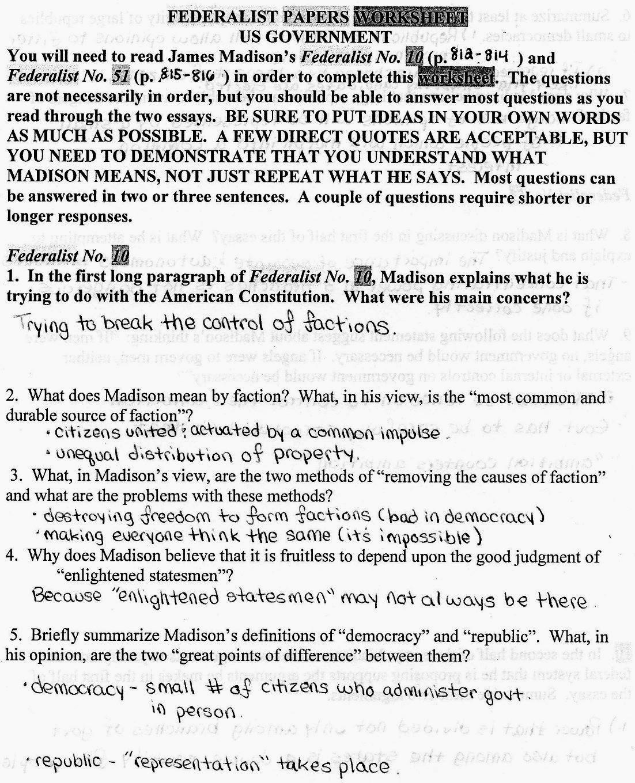 Mr Bravo S Pod Blog 1 2 Federalist Papers 10 Amp 51 Worksheet