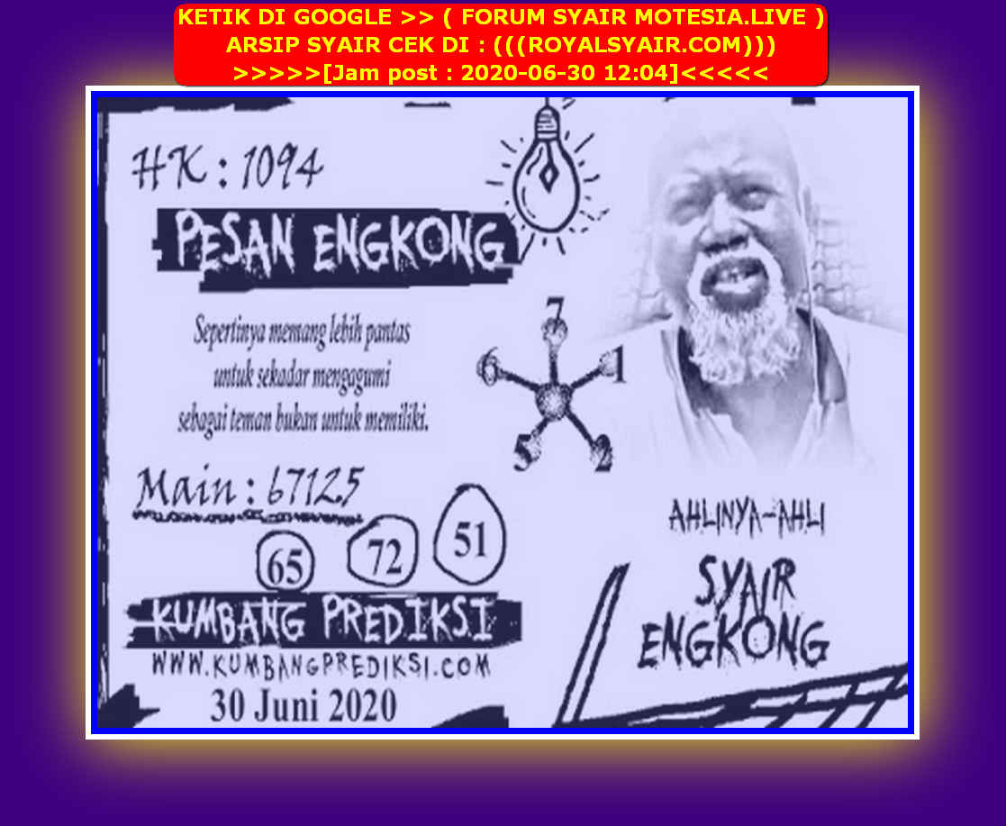 Kode syair Hongkong Selasa 30 Juni 2020 156