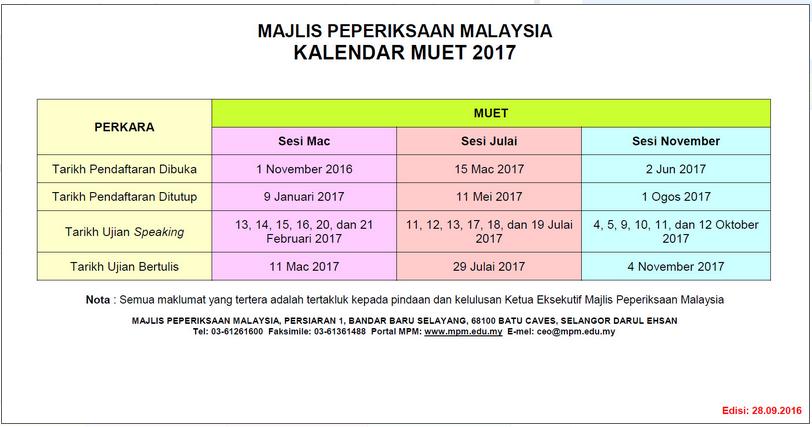kalendar peperiksaan muet november 2017