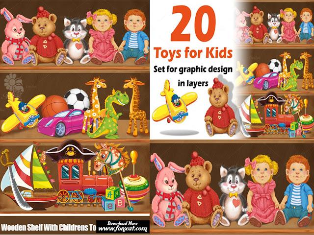20 تصميم PSD لمكتبة للعب الاطفال بجودة عالية جدا بحجم (460.1 MB)