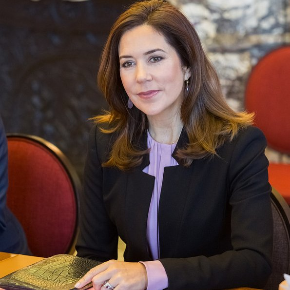 Crown Princess Mary wore Tibi Bell Sleeve Corset Stretch Crepe Top, Zara crepe frock coat, Piaget Possession long necklace, carried Prada bag